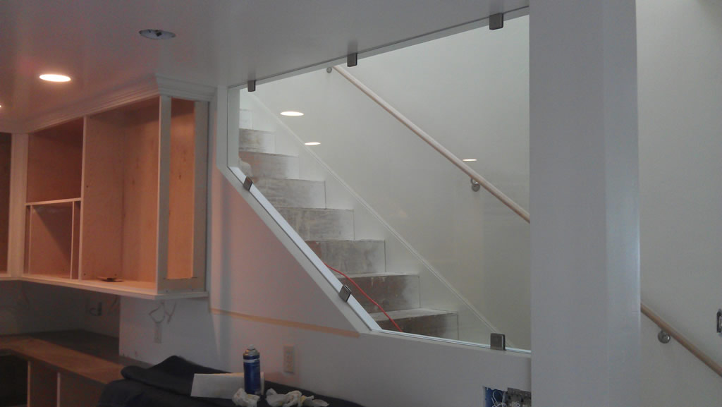Custom Tempered Glass Partition Installed
