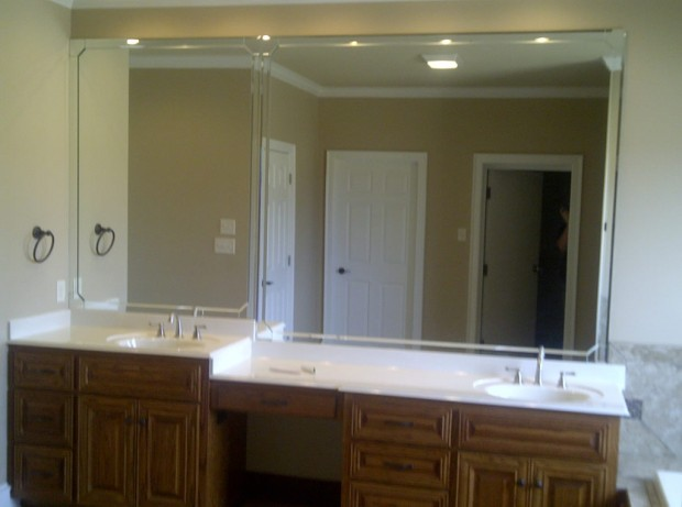 Beautiful In Pinky Reddys Bathroom, The Walls And Dresser Are Clad In Bevelled Mirrors