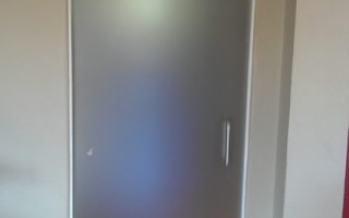 3/8 Acid Etched tempered glass door with brushed nickel hardware