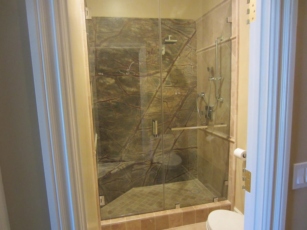 custom notched 1 2 glass shower enclosure la jolla ca