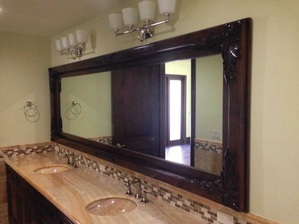 custom mirrors installed with wood frames rancho santa fe