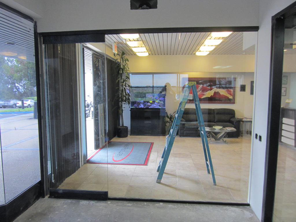 glass office wall installation patriot glass and mirror san diego