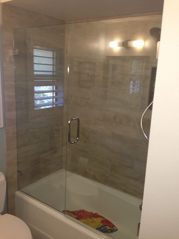 Over tub glass enclosure patriot glass and mirror san diego ca