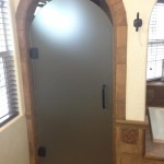 Acid Etched Custom Arched Shower Glass