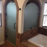 Custom Frosted Arched Shower Door And Glass
