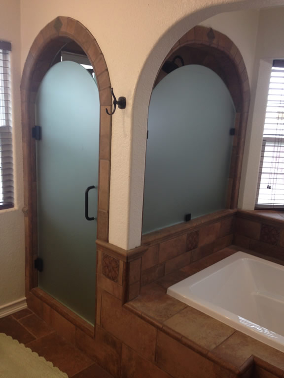Bathroom Mirrors San Diego acid etched with custom arch - patriot glass and mirror | san diego ca