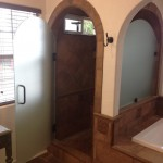 Custom Shower Door Arched And Etched