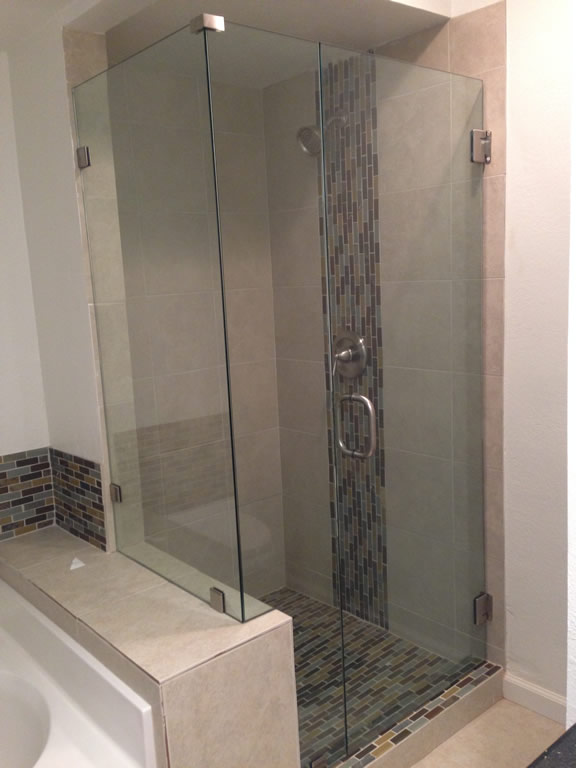 Shower Enclosure Notched Around Pony Wall Patriot Glass