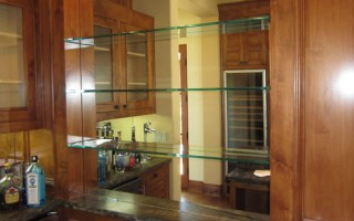 Bar Mirror And Glass Shelves Installed
