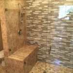 Half Inch Glass Shower Enclosure With Custom Notch Around Bench