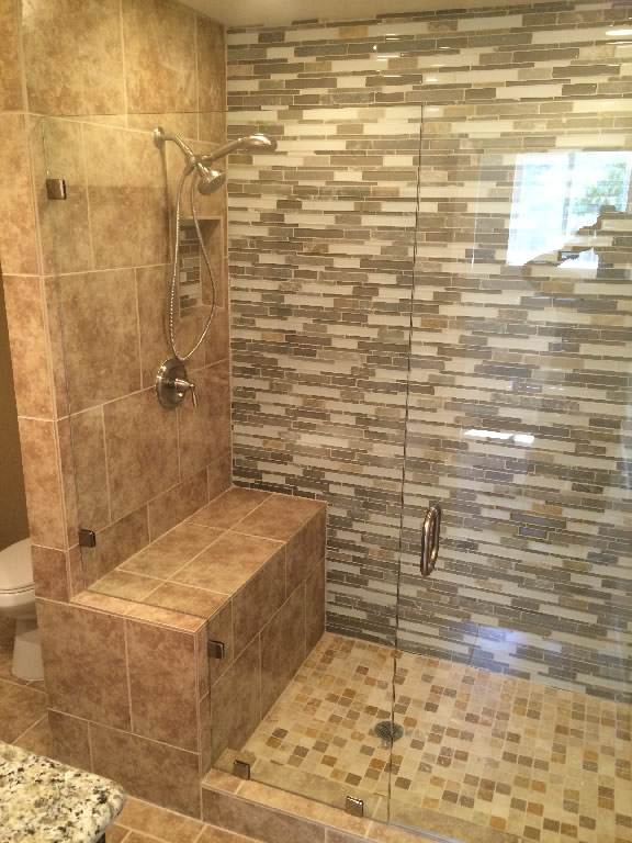 Beautiful Half Inch Glass Shower Enclosure With Custom Notch Around Bench