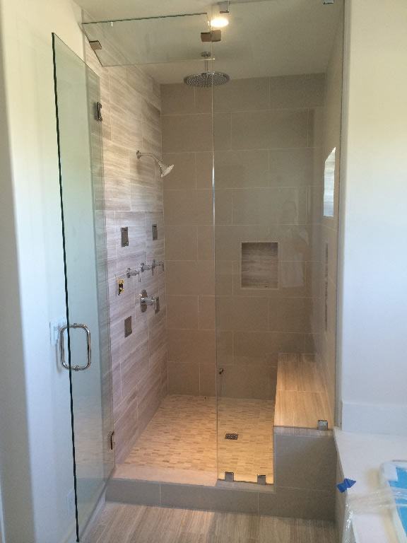 San Diego Steam Shower Frameless Glass Chrome Hardware