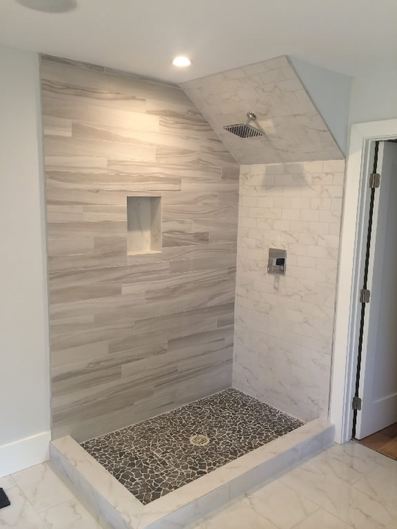 attic shower room ideas - Glass Enclosure With Angled Ceiling Patriot Glass and