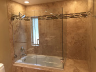 Frameless Glass Shower Enclosure With Double Set Of Doors