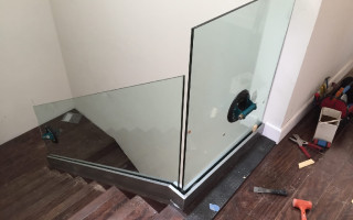 Glass Stair Railing Install La Jolla