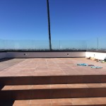 Roof Top Patio Railing With Bronze Powder Coated Base Shoe
