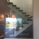 Clear Glass Railing Panels With Stainless Standoffs
