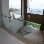 Floating Wood Stair Railing Installation