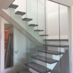 Three Panel Clear Tempered Glass Railing System