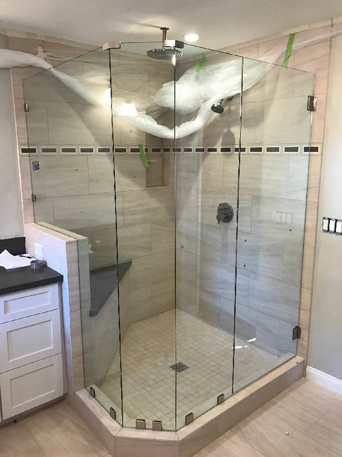 Custom 38 Inch Frameless Glass Shower Enclosure Patriot Glass And