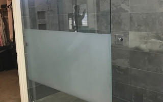 Shower Custom Sandblasted Glass Panel San Diego
