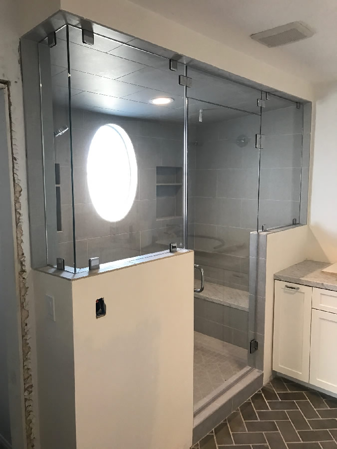 Steam Shower Floor To Ceiling Tempered Glass