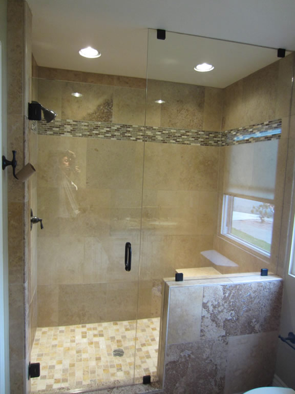 Shower Enclosure With Bronze Hardware Patriot Glass And