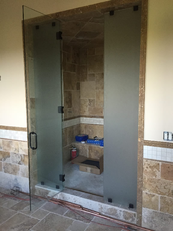 Steam Shower With Frosted Side Panels Patriot Glass And