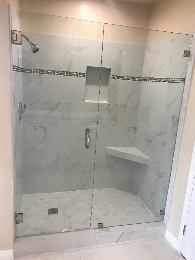 Shower Door With Brushed Nickel Patriot Glass And Mirror